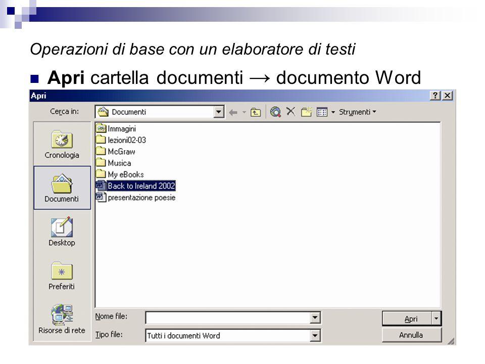 Operazioni di base con un elaboratore di testi Apri cartella documenti → documento Word