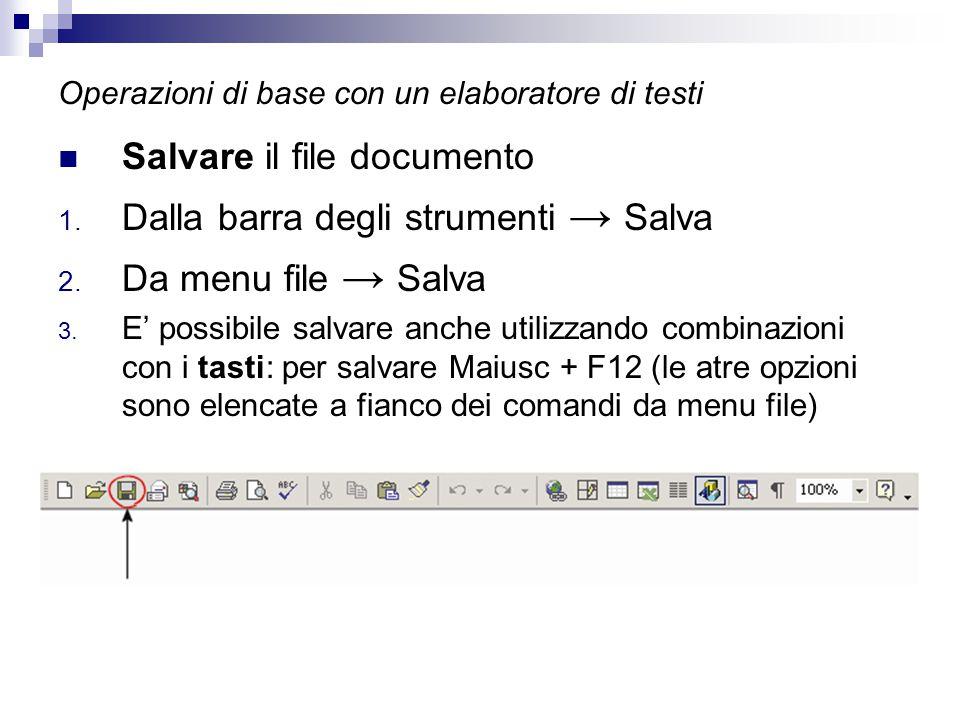 Operazioni di base con un elaboratore di testi Salvare il file documento 1. Dalla barra degli strumenti → Salva 2. Da menu file → Salva 3. E' possibil