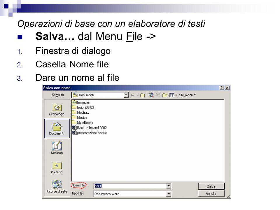 Operazioni di base con un elaboratore di testi Salva… dal Menu File -> 1. Finestra di dialogo 2. Casella Nome file 3. Dare un nome al file
