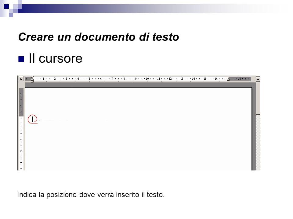 Creare un documento di testo Il cursore Indica la posizione dove verrà inserito il testo.