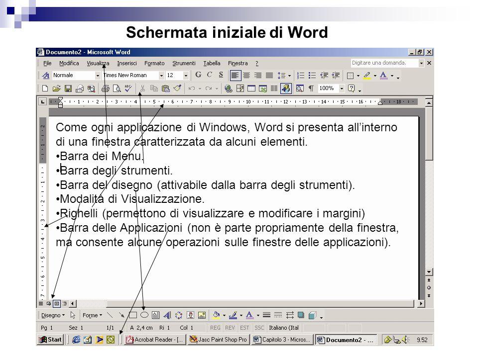 Schermata iniziale di Word Come ogni applicazione di Windows, Word si presenta all'interno di una finestra caratterizzata da alcuni elementi.