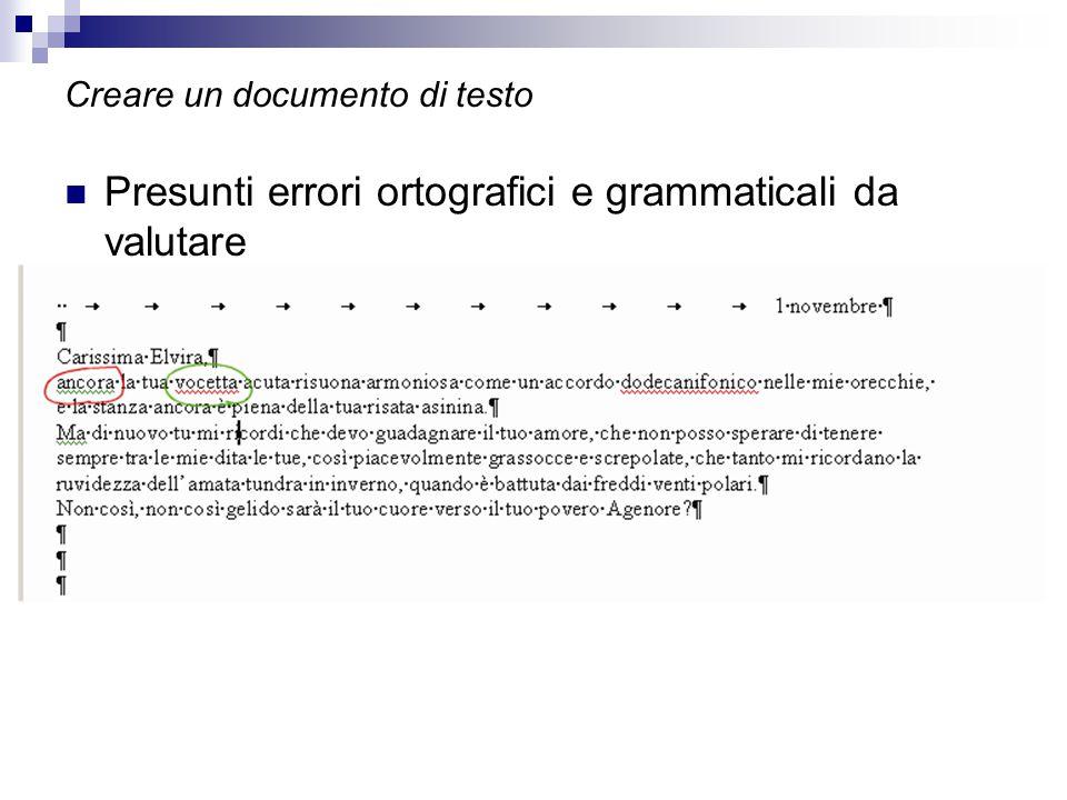 Creare un documento di testo Presunti errori ortografici e grammaticali da valutare
