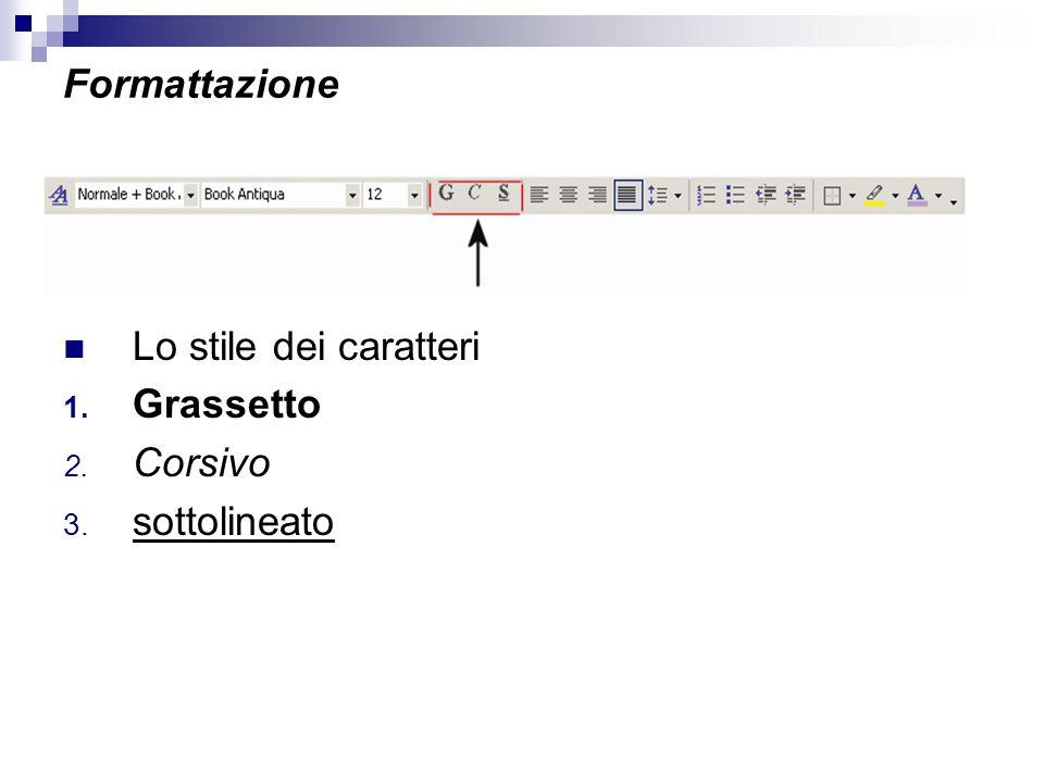 Formattazione Lo stile dei caratteri 1. Grassetto 2. Corsivo 3. sottolineato