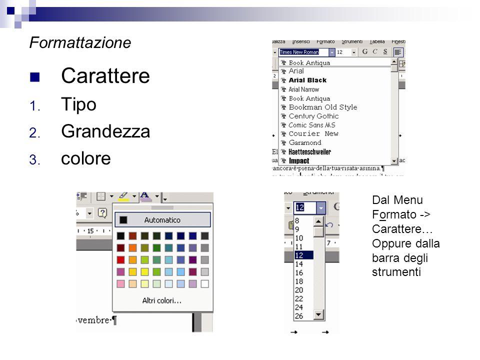 Formattazione Carattere 1. Tipo 2. Grandezza 3. colore Dal Menu Formato -> Carattere… Oppure dalla barra degli strumenti