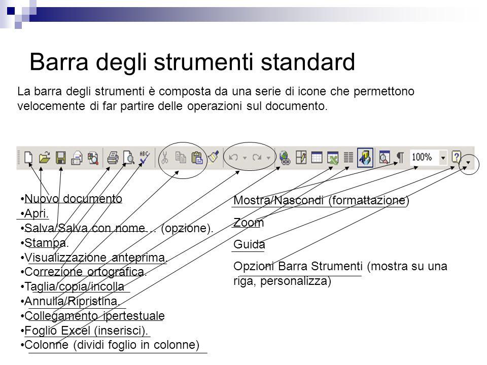 Barra degli strumenti standard La barra degli strumenti è composta da una serie di icone che permettono velocemente di far partire delle operazioni sul documento.