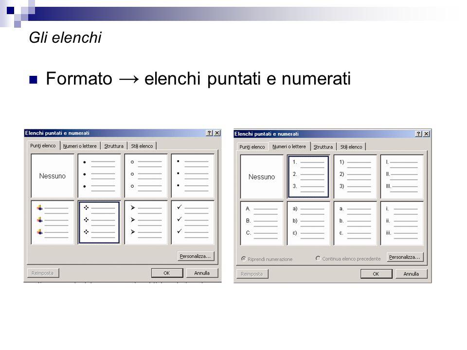 Gli elenchi Formato → elenchi puntati e numerati