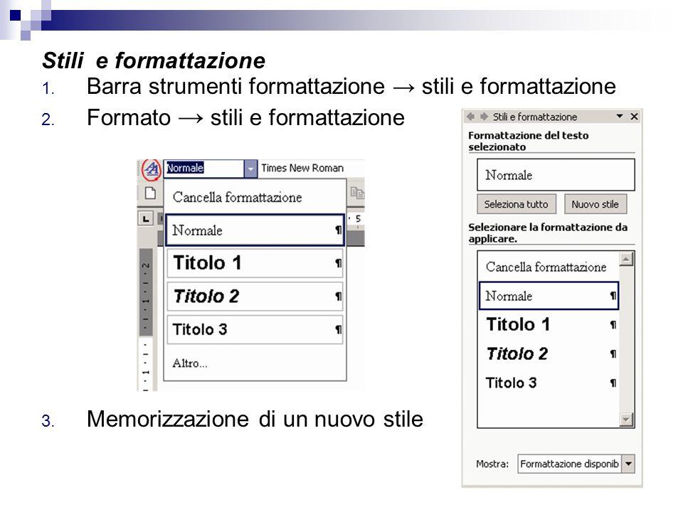 Stili e formattazione 1. Barra strumenti formattazione → stili e formattazione 2. Formato → stili e formattazione 3. Memorizzazione di un nuovo stile