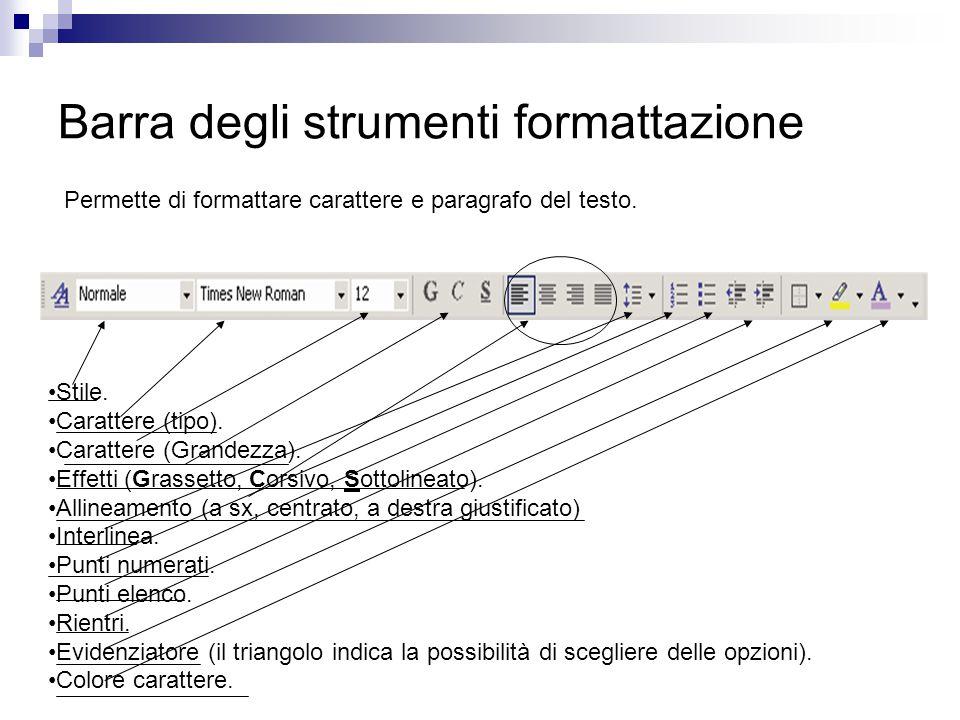 Barra degli strumenti formattazione Permette di formattare carattere e paragrafo del testo. Stile. Carattere (tipo). Carattere (Grandezza). Effetti (G