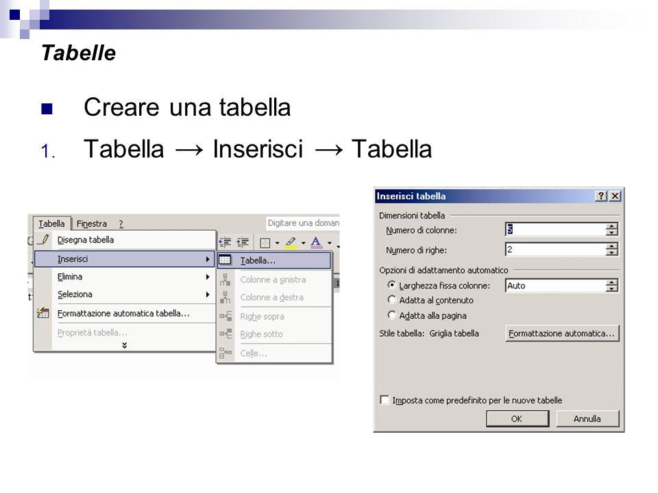 Tabelle Creare una tabella 1. Tabella → Inserisci → Tabella