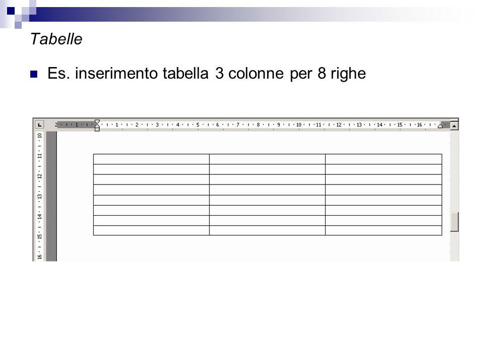 Tabelle Es. inserimento tabella 3 colonne per 8 righe