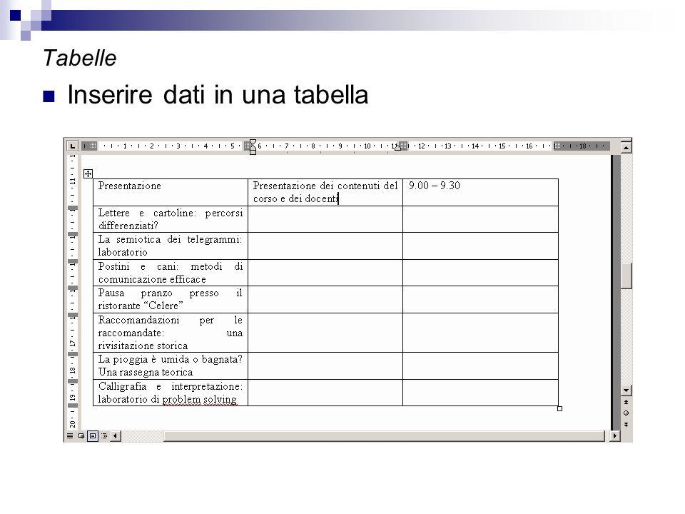 Tabelle Inserire dati in una tabella