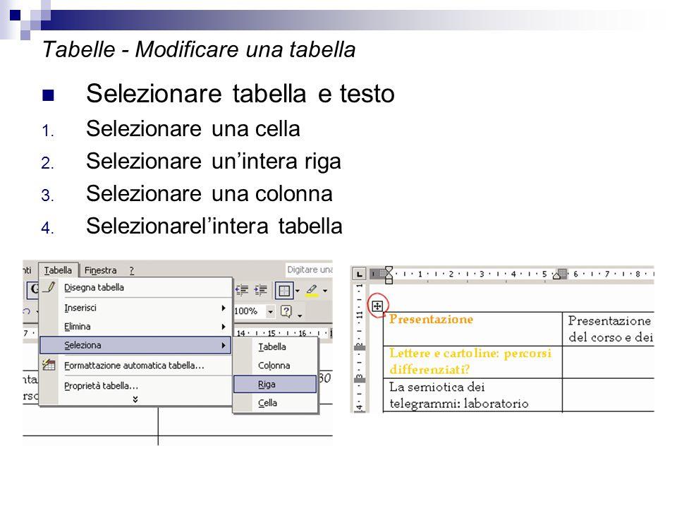 Tabelle - Modificare una tabella Selezionare tabella e testo 1. Selezionare una cella 2. Selezionare un'intera riga 3. Selezionare una colonna 4. Sele