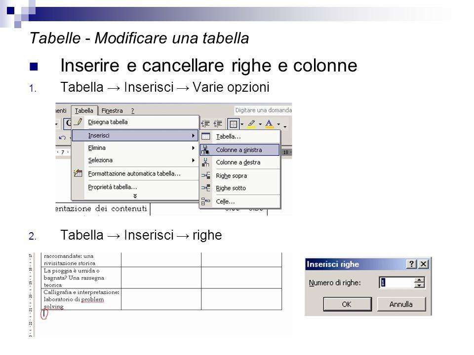 Tabelle - Modificare una tabella Inserire e cancellare righe e colonne 1. Tabella → Inserisci → Varie opzioni 2. Tabella → Inserisci → righe