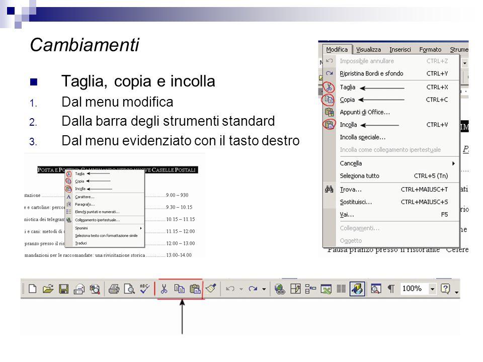 Cambiamenti Taglia, copia e incolla 1. Dal menu modifica 2. Dalla barra degli strumenti standard 3. Dal menu evidenziato con il tasto destro