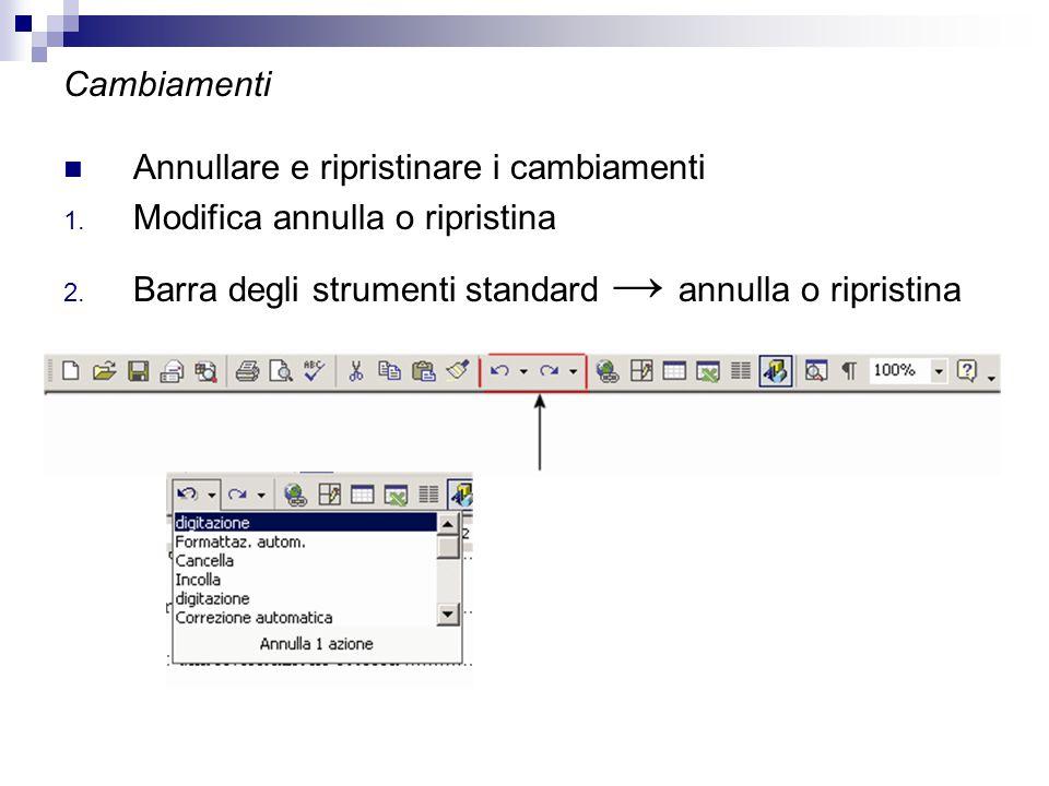 Cambiamenti Annullare e ripristinare i cambiamenti 1. Modifica annulla o ripristina 2. Barra degli strumenti standard → annulla o ripristina