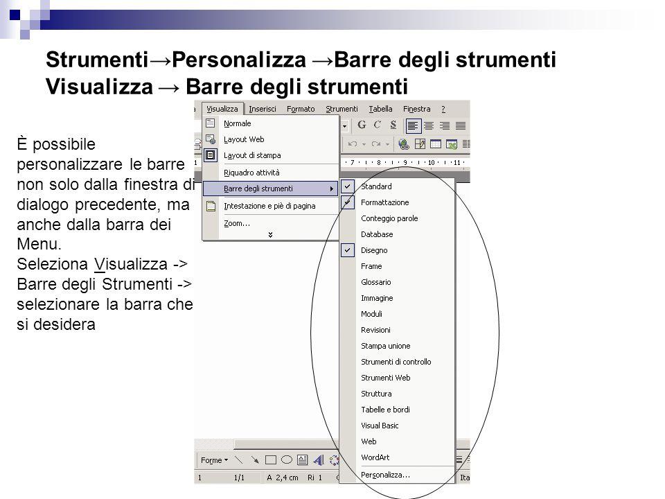 Strumenti→Personalizza →Barre degli strumenti Visualizza → Barre degli strumenti È possibile personalizzare le barre non solo dalla finestra di dialogo precedente, ma anche dalla barra dei Menu.