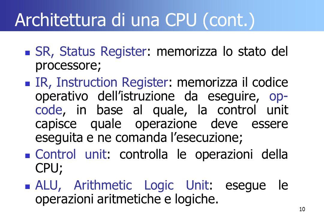 10 Architettura di una CPU (cont.) SR, Status Register: memorizza lo stato del processore; IR, Instruction Register: memorizza il codice operativo del