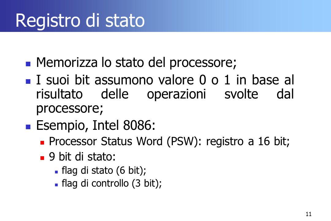 11 Registro di stato Memorizza lo stato del processore; I suoi bit assumono valore 0 o 1 in base al risultato delle operazioni svolte dal processore;