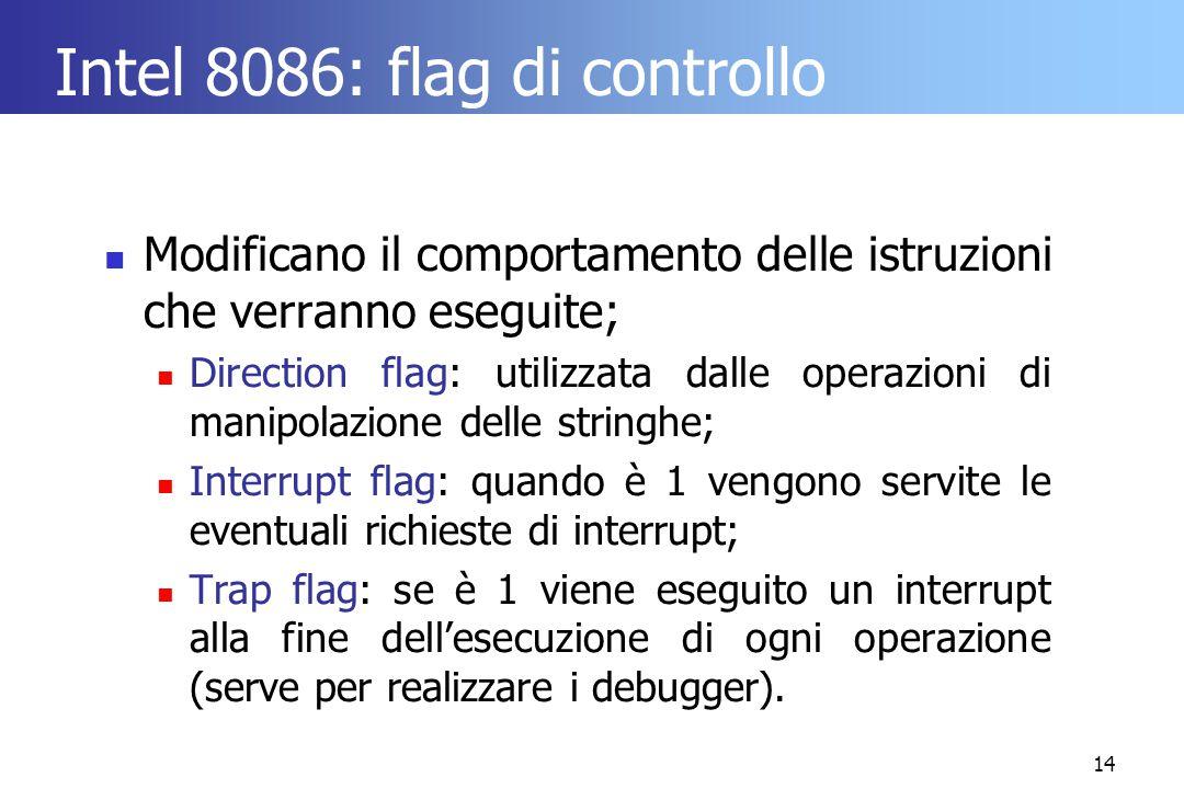 14 Intel 8086: flag di controllo Modificano il comportamento delle istruzioni che verranno eseguite; Direction flag: utilizzata dalle operazioni di ma