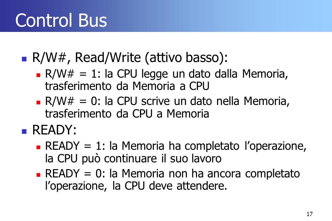 17 Control Bus R/W#, Read/Write (attivo basso): R/W# = 1: la CPU legge un dato dalla Memoria, trasferimento da Memoria a CPU R/W# = 0: la CPU scrive u