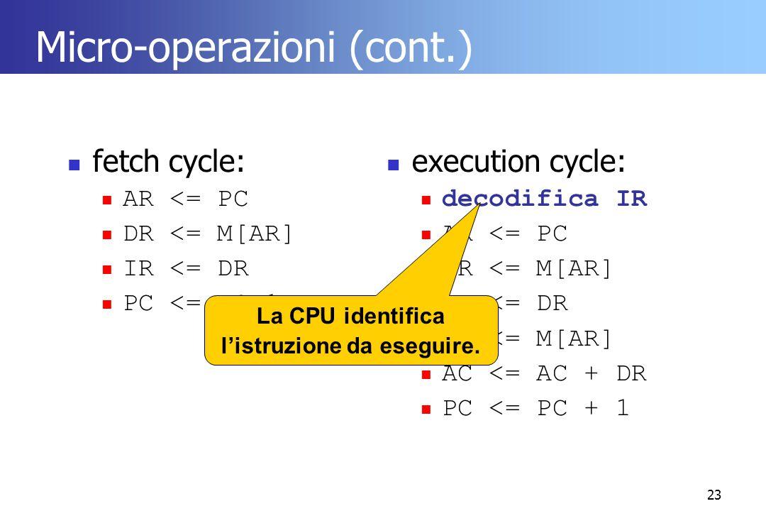 23 Micro-operazioni (cont.) fetch cycle: AR <= PC DR <= M[AR] IR <= DR PC <= PC+1 execution cycle: decodifica IR AR <= PC DR <= M[AR] AR <= DR DR <= M