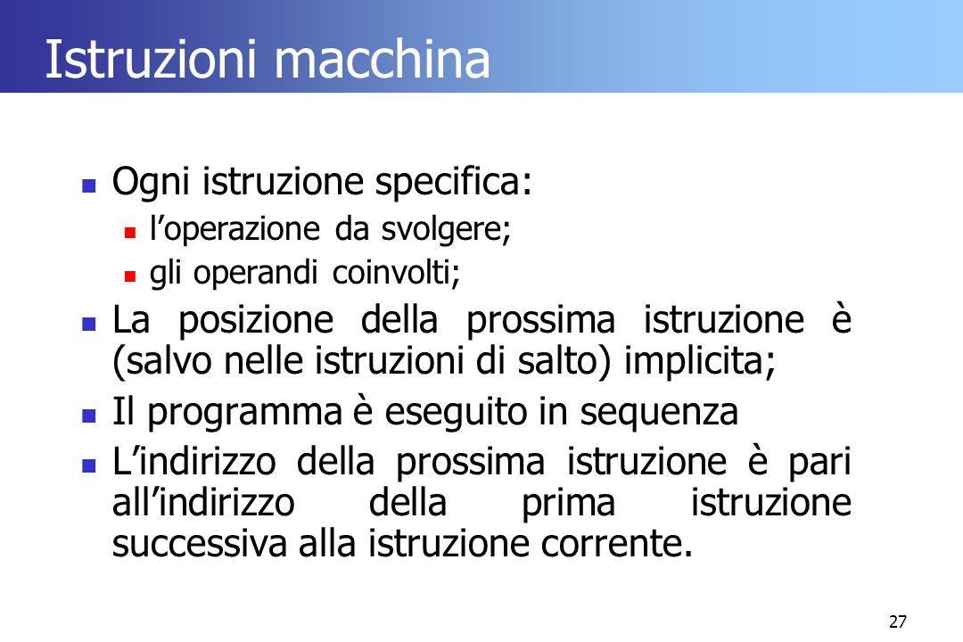 27 Istruzioni macchina Ogni istruzione specifica: l'operazione da svolgere; gli operandi coinvolti; La posizione della prossima istruzione è (salvo ne