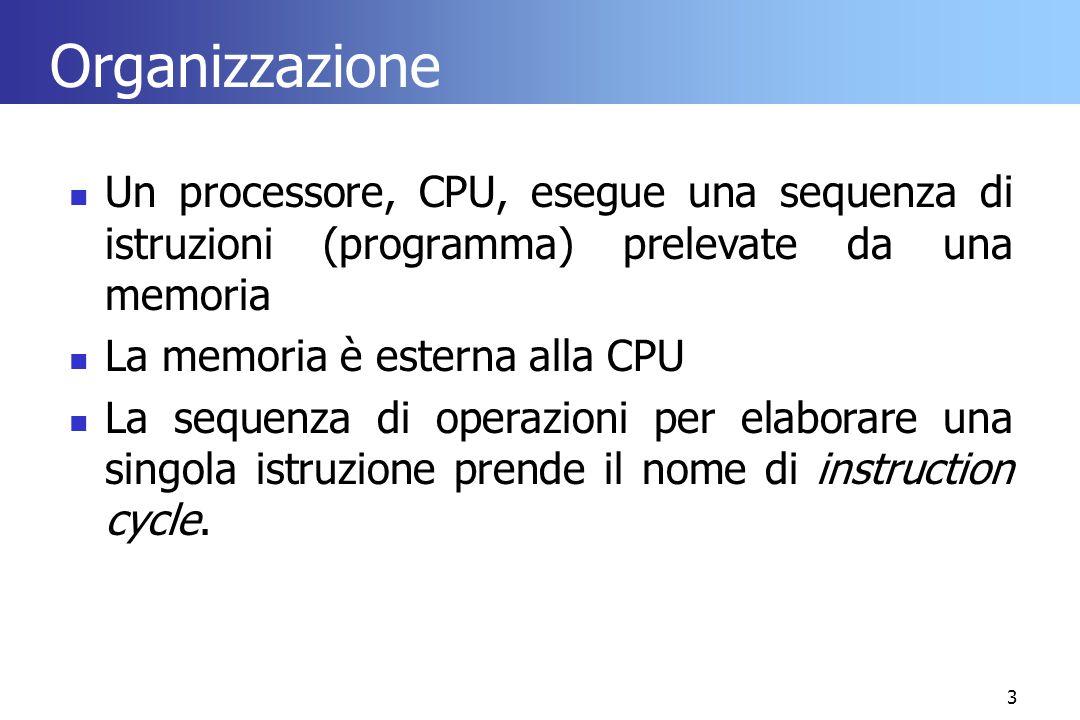 3 Organizzazione Un processore, CPU, esegue una sequenza di istruzioni (programma) prelevate da una memoria La memoria è esterna alla CPU La sequenza