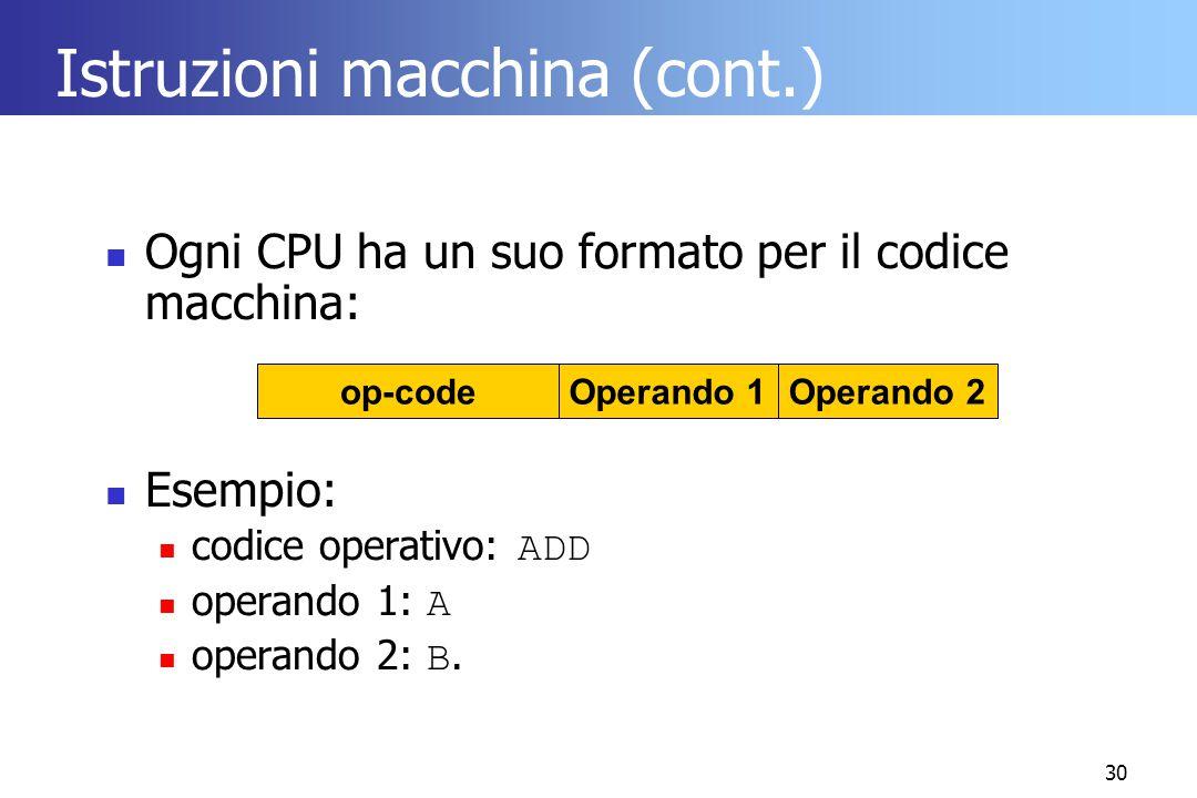 30 Istruzioni macchina (cont.) Ogni CPU ha un suo formato per il codice macchina: Esempio: codice operativo: ADD operando 1: A operando 2: B. op-codeO