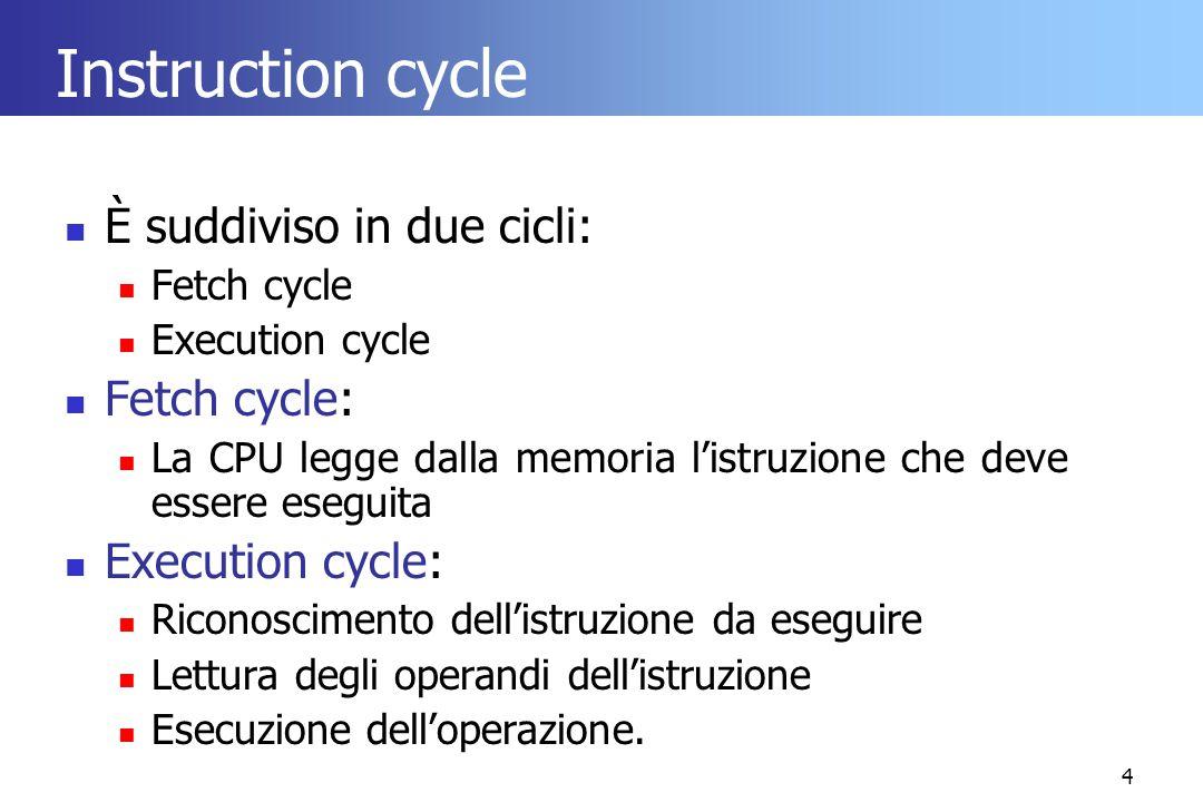 4 Instruction cycle È suddiviso in due cicli: Fetch cycle Execution cycle Fetch cycle: La CPU legge dalla memoria l'istruzione che deve essere eseguit