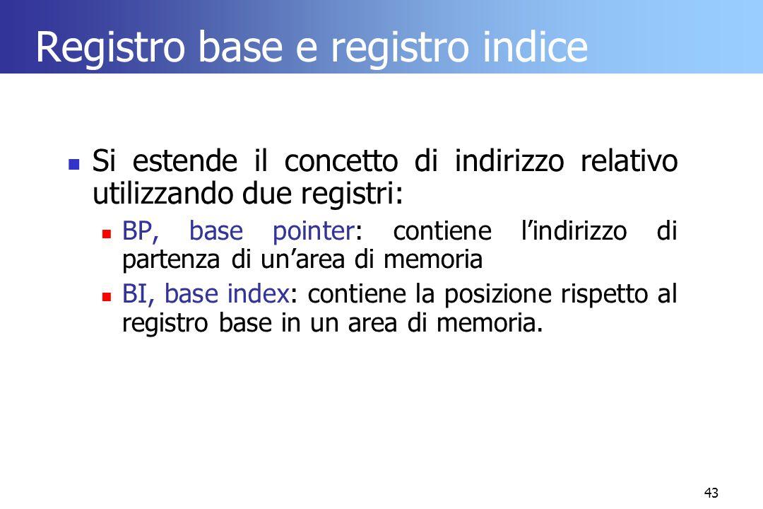 43 Registro base e registro indice Si estende il concetto di indirizzo relativo utilizzando due registri: BP, base pointer: contiene l'indirizzo di pa
