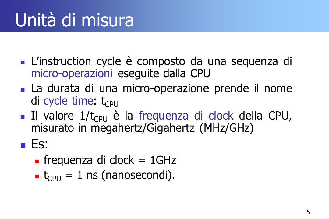 5 Unità di misura L'instruction cycle è composto da una sequenza di micro-operazioni eseguite dalla CPU La durata di una micro-operazione prende il no