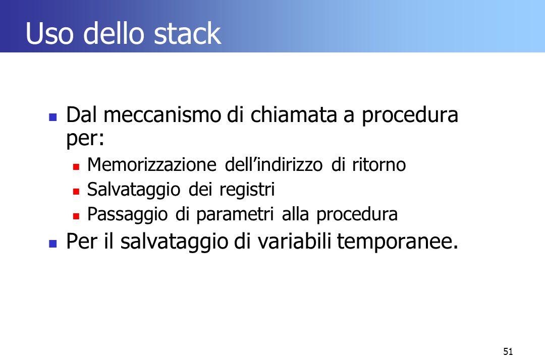 51 Uso dello stack Dal meccanismo di chiamata a procedura per: Memorizzazione dell'indirizzo di ritorno Salvataggio dei registri Passaggio di parametr