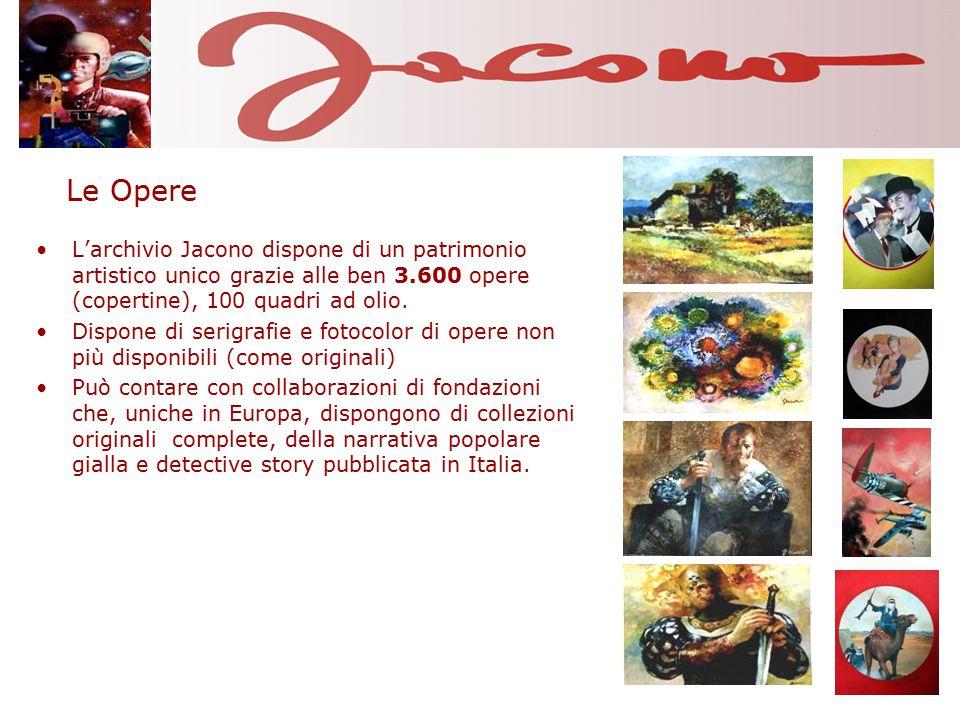 Le Opere L'archivio Jacono dispone di un patrimonio artistico unico grazie alle ben 3.600 opere (copertine), 100 quadri ad olio. Dispone di serigrafie