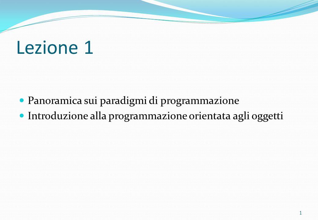 Lezione 1 Panoramica sui paradigmi di programmazione Introduzione alla programmazione orientata agli oggetti 1