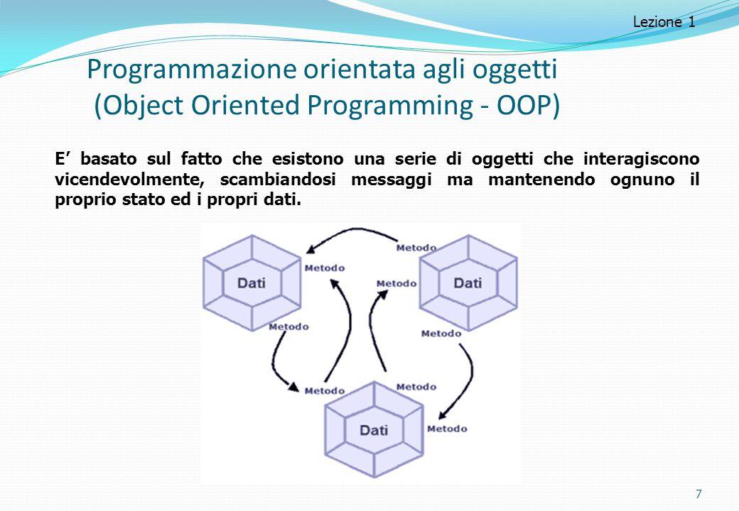 Programmazione orientata agli oggetti (Object Oriented Programming - OOP) 7 Lezione 1 E' basato sul fatto che esistono una serie di oggetti che intera