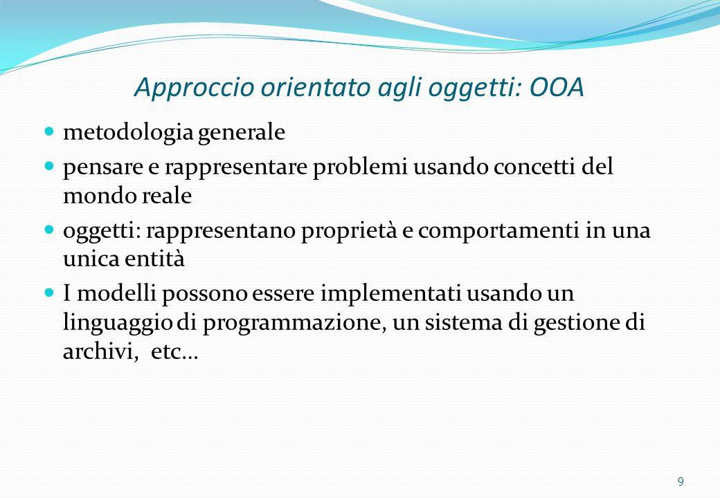 9 Approccio orientato agli oggetti: OOA metodologia generale pensare e rappresentare problemi usando concetti del mondo reale oggetti: rappresentano p