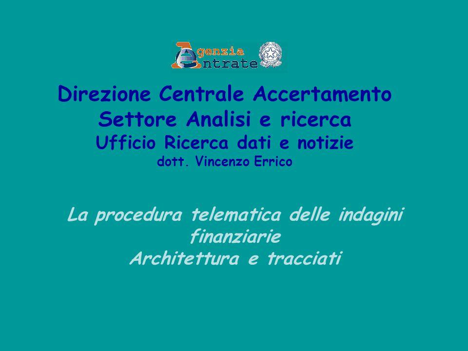 La procedura telematica delle indagini finanziarie Architettura e tracciati Direzione Centrale Accertamento Settore Analisi e ricerca Ufficio Ricerca