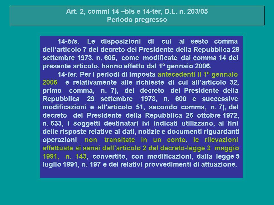 14-bis. Le disposizioni di cui al sesto comma dell'articolo 7 del decreto del Presidente della Repubblica 29 settembre 1973, n. 605, come modificate d