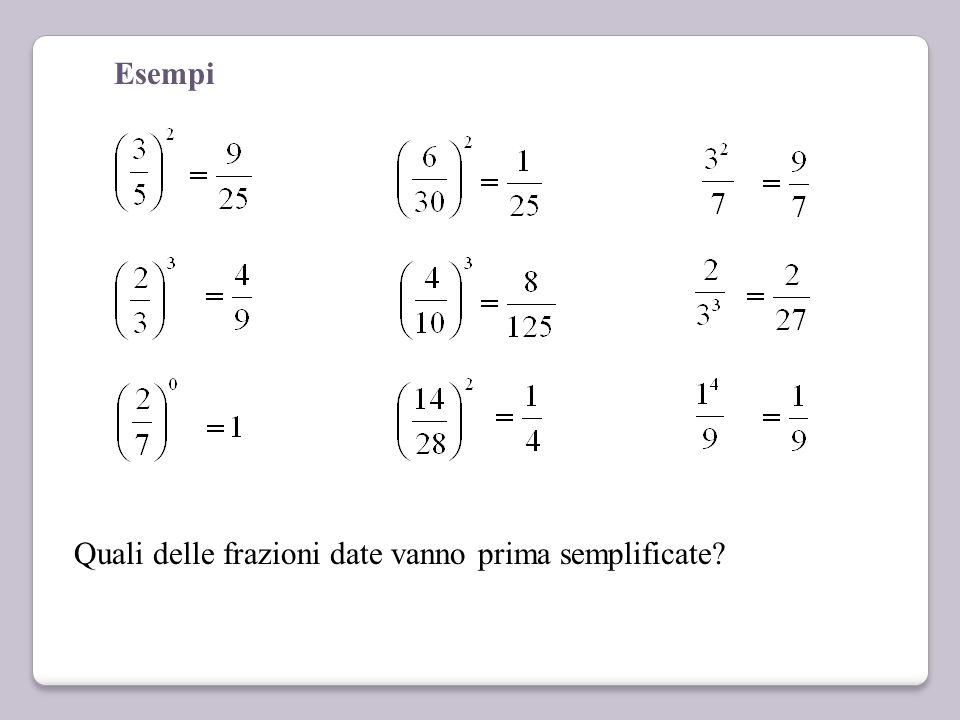 Potenza di frazioni Si eleva a potenza sia il numeratore sia il denominatore. Se l'esponente è 0 la potenza è uguale a 1 Attento alle parentesi! Se no