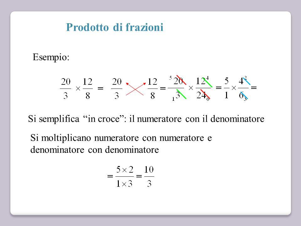 Prodotto di frazioni Si semplifica in croce : il numeratore con il denominatore Si moltiplicano numeratore con numeratore e denominatore con denominatore Esempio: