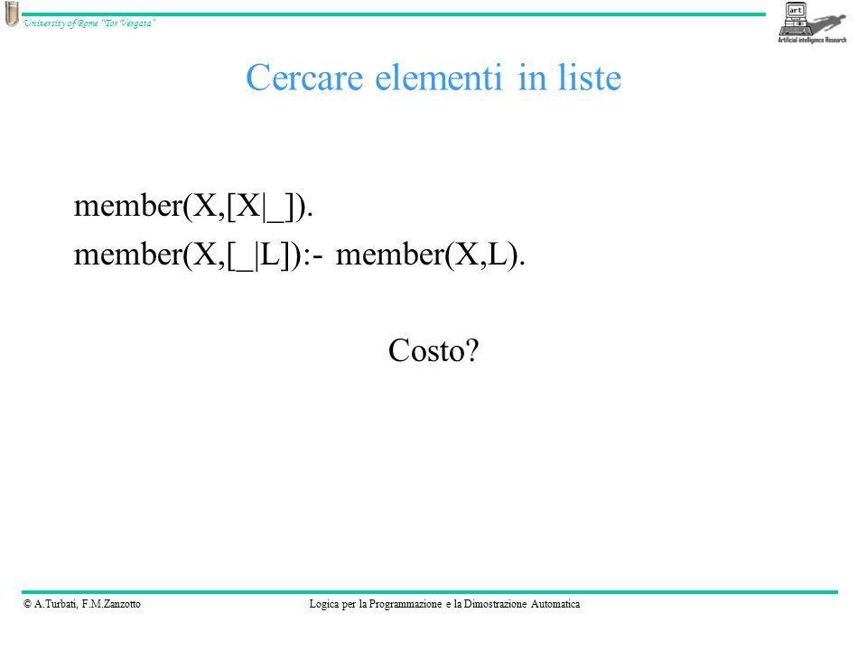 © A.Turbati, F.M.ZanzottoLogica per la Programmazione e la Dimostrazione Automatica University of Rome Tor Vergata Cercare elementi in liste member(X,[X|_]).