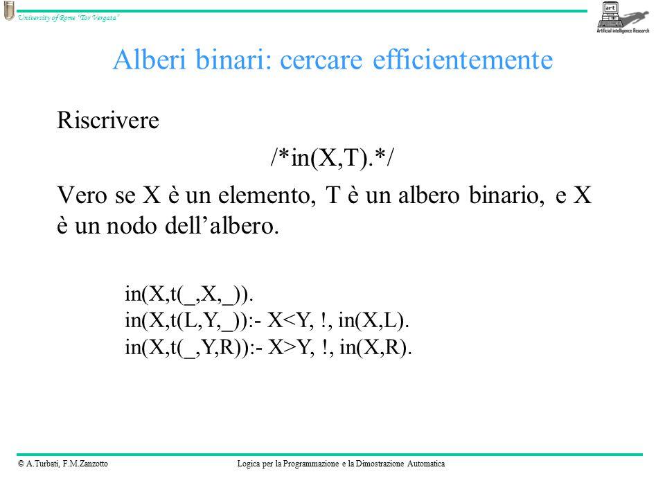 © A.Turbati, F.M.ZanzottoLogica per la Programmazione e la Dimostrazione Automatica University of Rome Tor Vergata Alberi binari: cercare efficientemente Riscrivere /*in(X,T).*/ Vero se X è un elemento, T è un albero binario, e X è un nodo dell'albero.