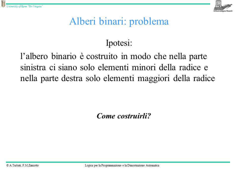 """© A.Turbati, F.M.ZanzottoLogica per la Programmazione e la Dimostrazione Automatica University of Rome """"Tor Vergata"""" Alberi binari: problema Ipotesi:"""