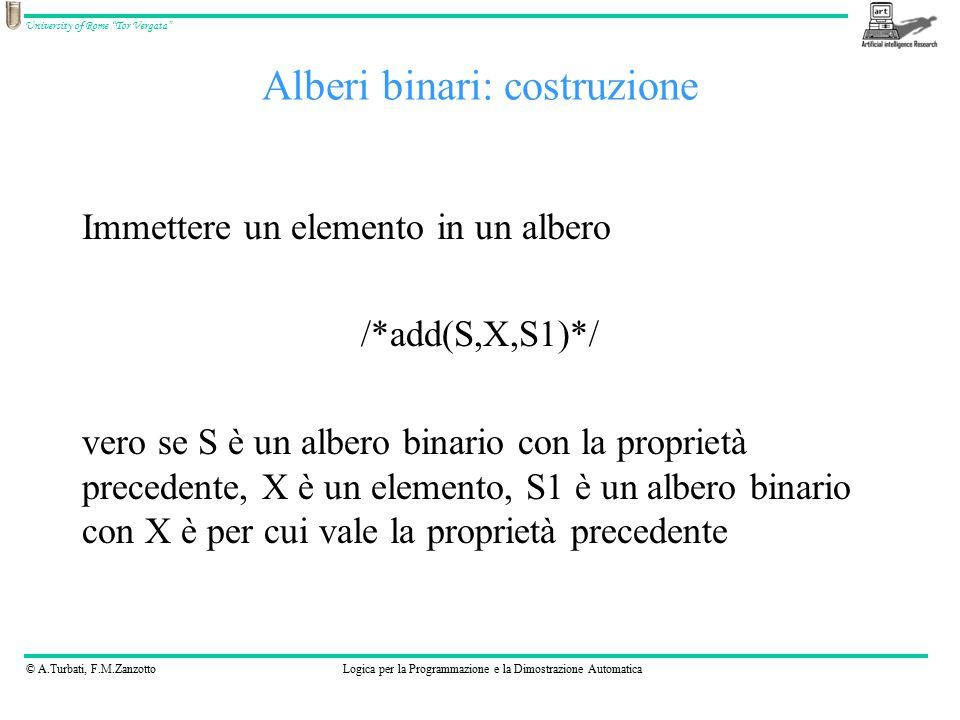 © A.Turbati, F.M.ZanzottoLogica per la Programmazione e la Dimostrazione Automatica University of Rome Tor Vergata Alberi binari: costruzione Immettere un elemento in un albero /*add(S,X,S1)*/ vero se S è un albero binario con la proprietà precedente, X è un elemento, S1 è un albero binario con X è per cui vale la proprietà precedente