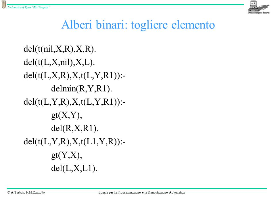 © A.Turbati, F.M.ZanzottoLogica per la Programmazione e la Dimostrazione Automatica University of Rome Tor Vergata Alberi binari: togliere elemento del(t(nil,X,R),X,R).