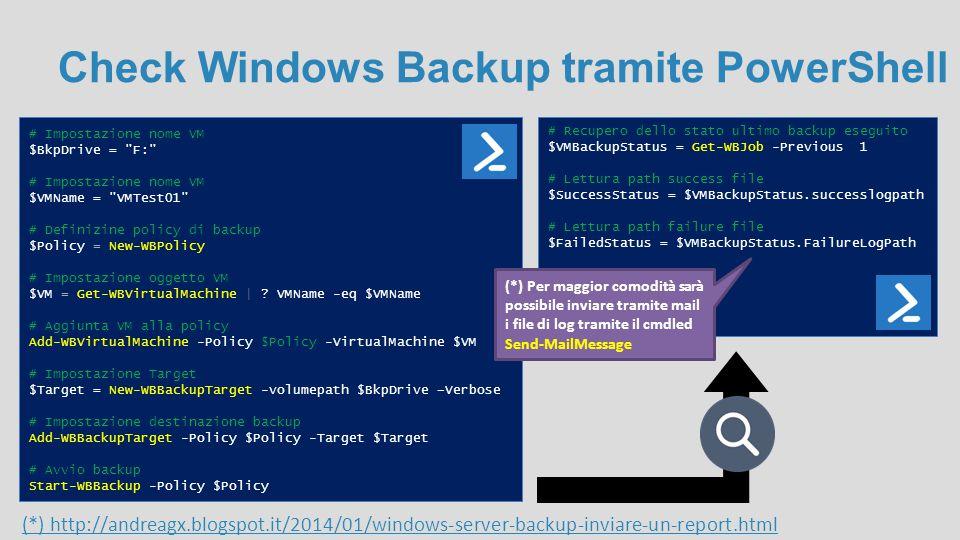 Check Windows Backup tramite PowerShell # Impostazione nome VM $BkpDrive =