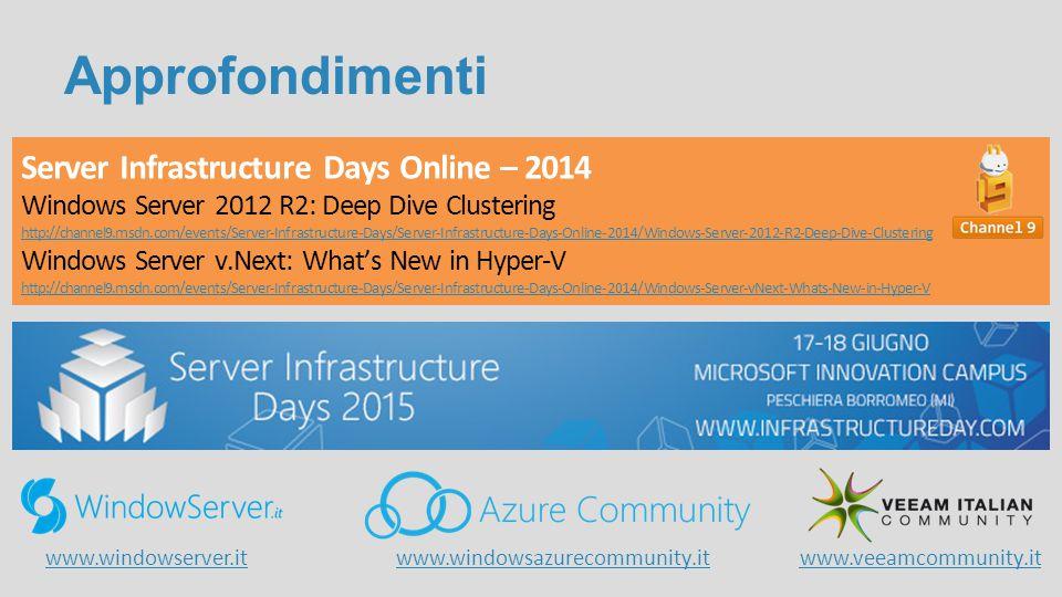 Approfondimenti Server Infrastructure Days Online – 2014 Windows Server 2012 R2: Deep Dive Clustering http://channel9.msdn.com/events/Server-Infrastru