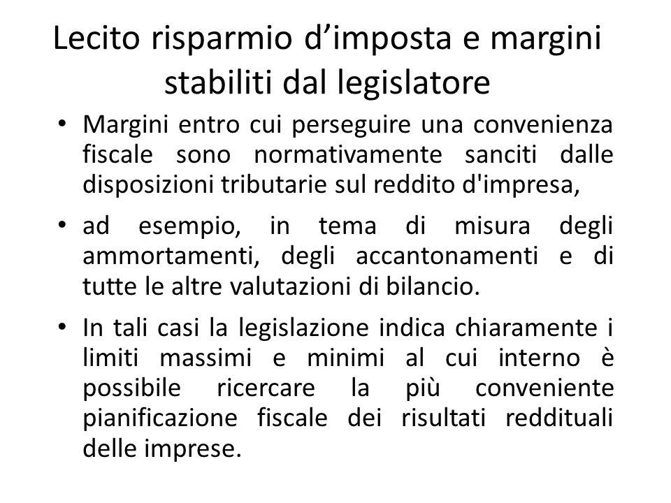 Lecito risparmio d'imposta e margini stabiliti dal legislatore Margini entro cui perseguire una convenienza fiscale sono normativamente sanciti dalle