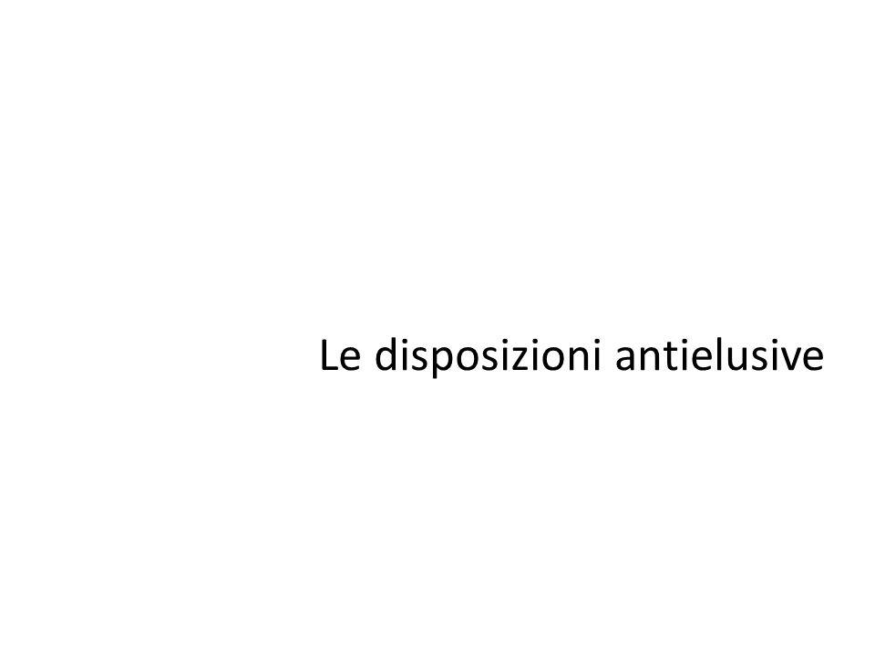Le disposizioni antielusive