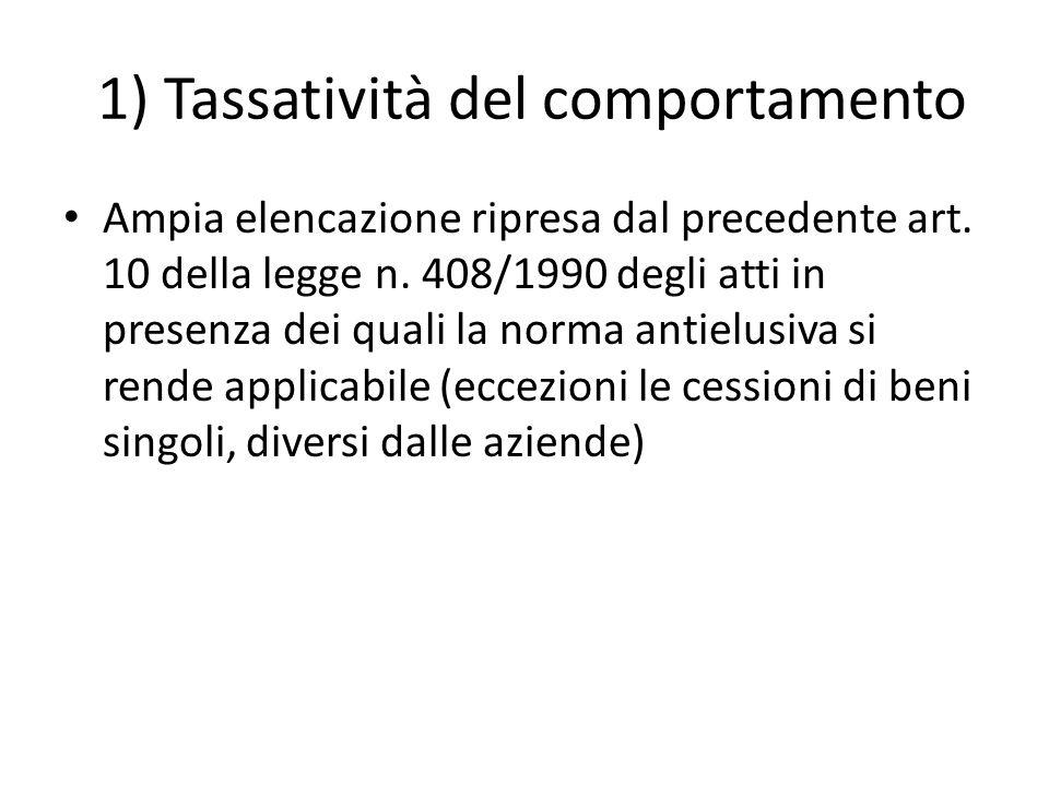 1) Tassatività del comportamento Ampia elencazione ripresa dal precedente art.